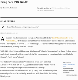 National PTA asking Amazon about E Ink Kindles' missing 'read-aloud'; related Baltimore Sun op-ed now online