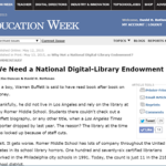 National digital library endowment plan featured in Education Week